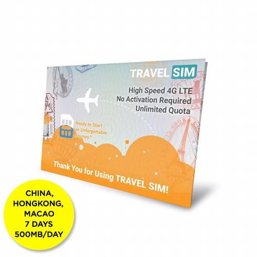 Travelsim Card China & Hongkong & Macau 7 Days (500MB/Day)