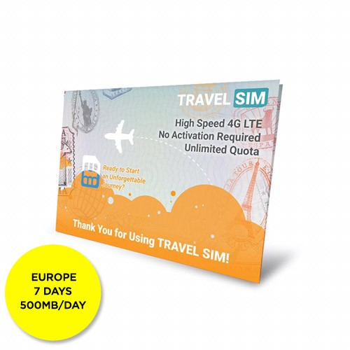 Travelsim Card Europe 7 Days (500MB/Day)