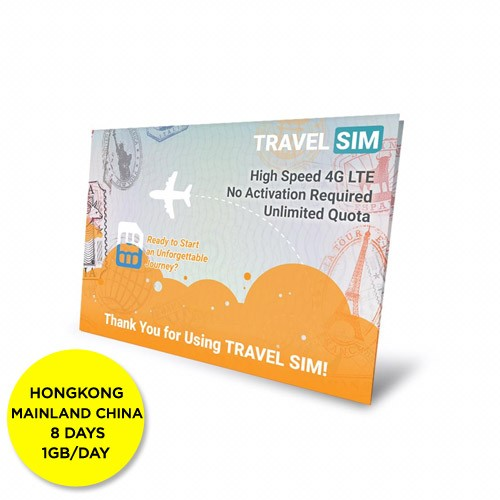 Travelsim Card Hongkong & Mainland China 8 Days (1GB/Day)