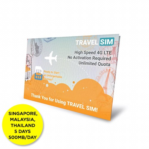 Travelsim Card Singapore & Malaysia & Thailand 5 Days (500MB/Day)