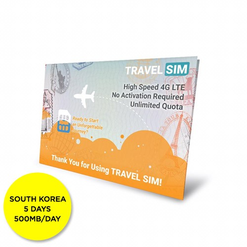 Travelsim Card South Korea 5 Days (500MB/Day)