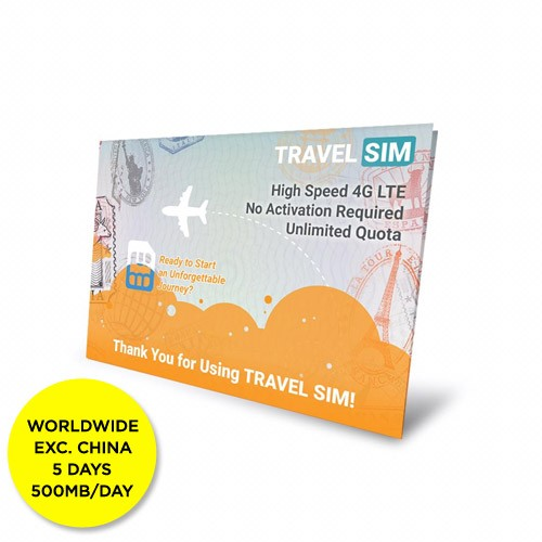 Travelsim Card Worldwide Exc China 5 Days (500MB/Day)