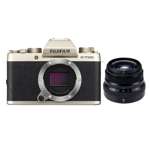 Fujifilm Mirrorless Digital Camera X-T100 with XF 35mm Lens - Champagne Gold