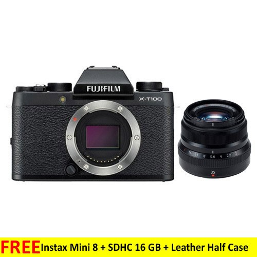 Fujifilm Mirrorless Digital Camera X-T100 with XF 35mm Lens - Black