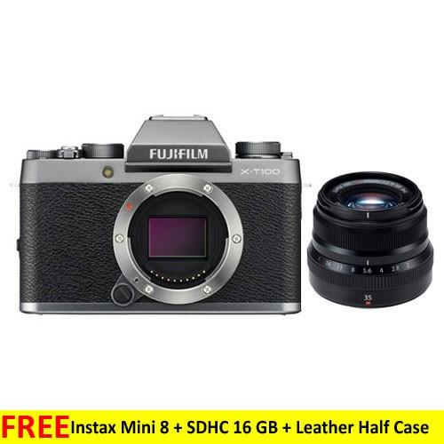 Fujifilm Mirrorless Digital Camera X-T100 with XF 35mm Lens - Silver