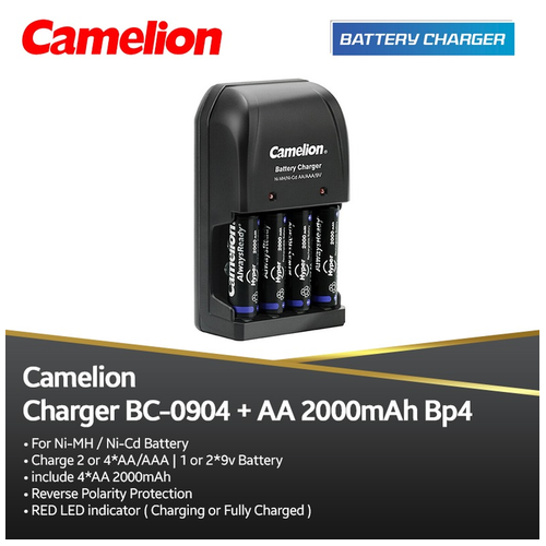 Camelion Charger 0904S + A2 2000 mAh bp4 Always ready