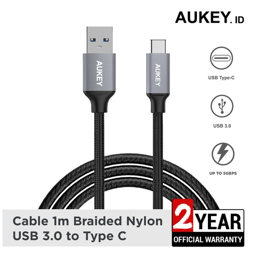 Aukey Cable 1M Braided USB 3.0 A to USB C - 500253
