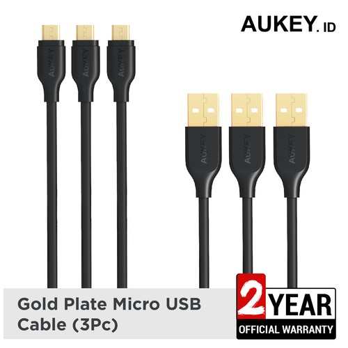 Aukey Cable Micro USB 2.0 Gold Plate (3Pcs) - 500259