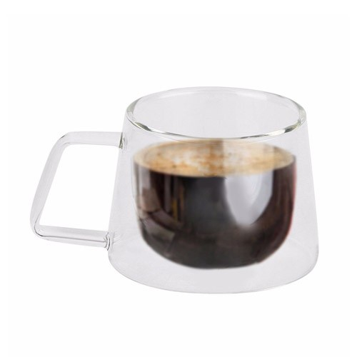 Gelas Cangkir Kopi Double Glass 200ml - Transparent