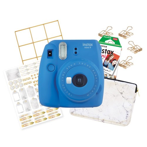 FujiFilm Instax Mini 9 Marble Package - Cobalt Blue