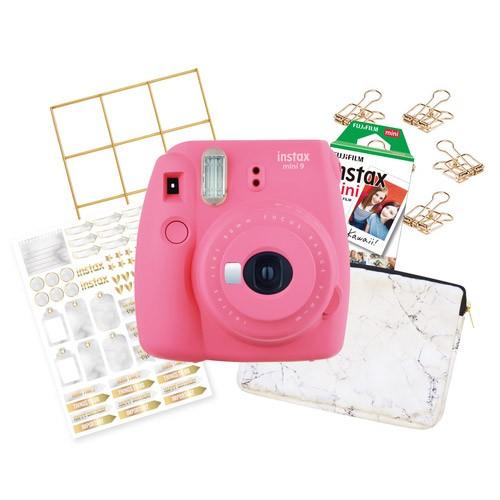 FujiFilm Instax Mini 9 Marble Package - Flamingo Pink