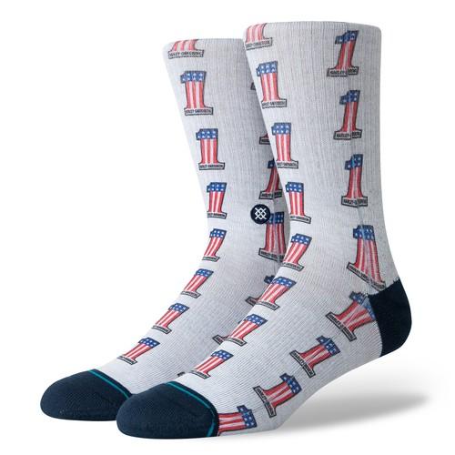 Stance Harley One Americana (Socks) - Grey (Accessories)