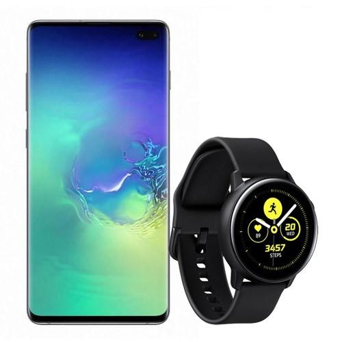 Samsung Galaxy S10+ (128GB) - Prism Green Bundling with Samsung Galaxy Watch Active - Black
