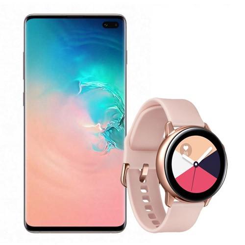 Samsung Galaxy S10+ (128GB) - Prism White Bundling with Samsung Galaxy Watch Active - Pink