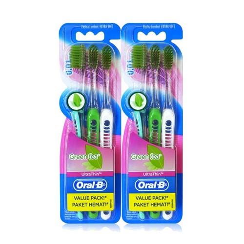 Oral-B Sikat Gigi UltraThin Green Tea 3s Paket Isi 2