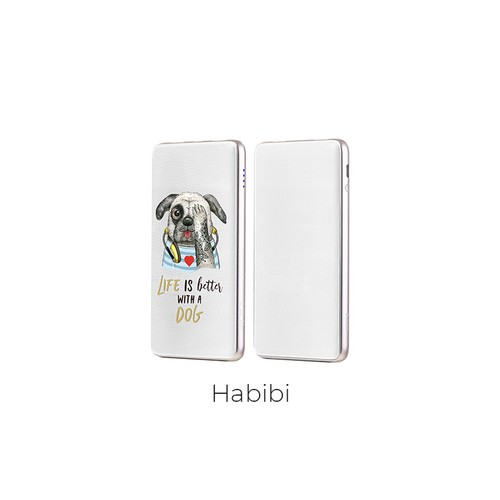 Hoco Power Bank Puppy LED Power Display with Dual USB Output 10.000mAh J13 - White Habibi