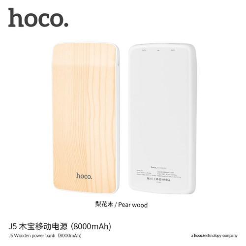 HOCO J5 Power Bank Wooden 8000 mAh Dual USB Output Power Bank Original - Pear Wood