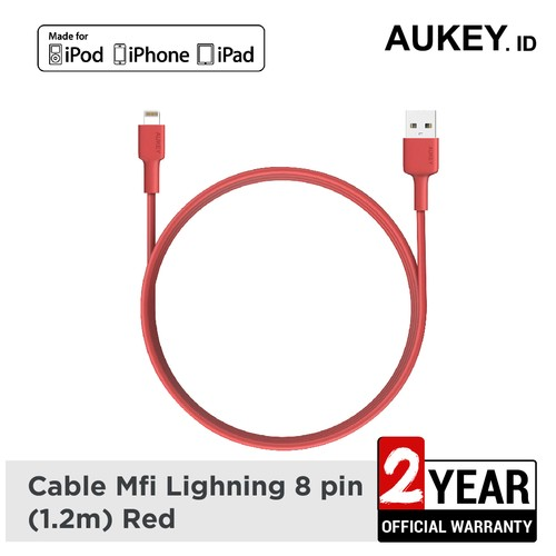 Aukey Cable MFi USB-A to Lightning 1,2m - Red - 500350