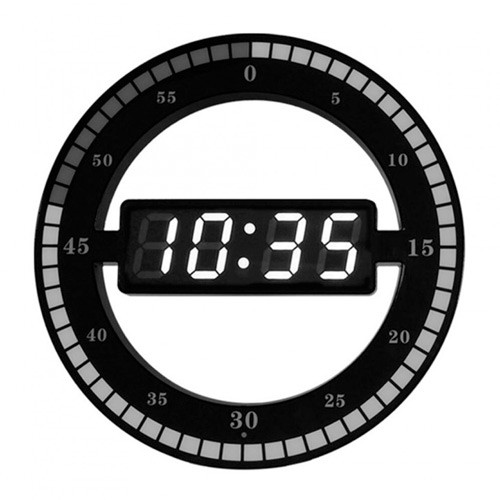 Creative Mute Hanging Wall Clock Digital LED Display - HC-012