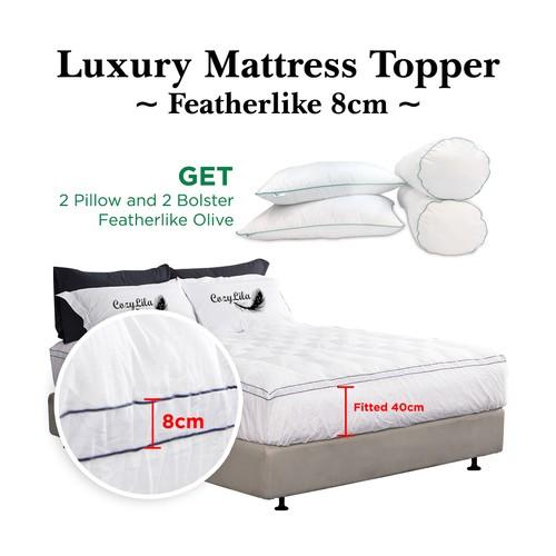 Paket Mattress Topper Bulu Angsa Featherlike (Olive) 8cm 180x200