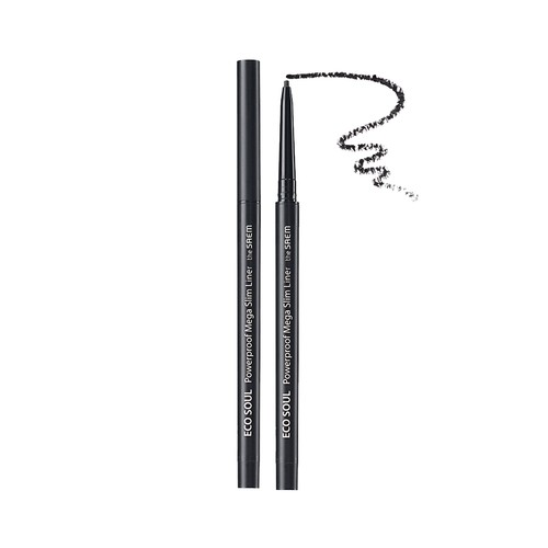 The Saem - Eco Soul Powerproof Mega Slim Liner 01 Deep Black