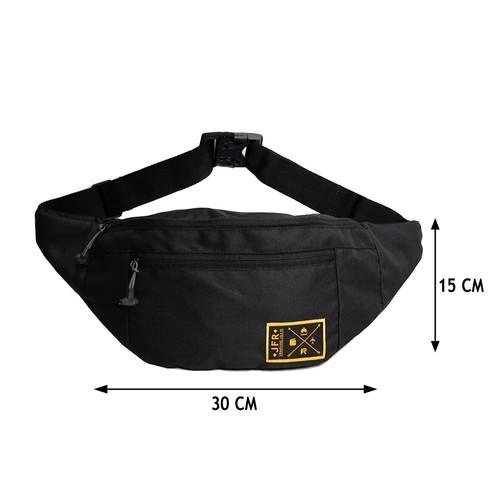 JFR Tas Selempang Pria - Tas Pinggang Waist Bag Bahan Polyester JT02 Hitam