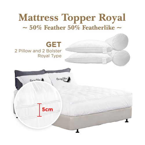 Paket Mattress Topper Bulu Angsa 50% (Royal) 180x200