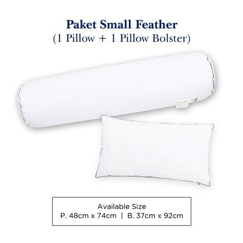 Paket 1 Bantal 1 Guling Bulu Angsa Small Feather