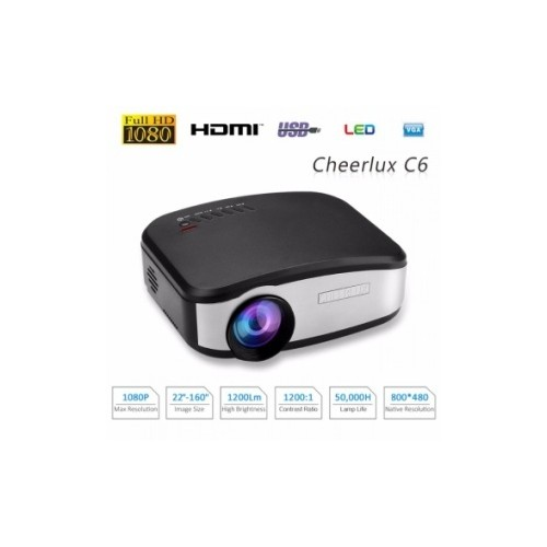 CHEERLUX C6 HD Mini LED Projector 800x480 Pixels 1200 Lumens with TV Tunner NEW MODEL (with Button) - FREE HDMI CABLE Black [TKU]