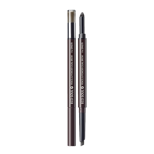 The Saem - Eco Soul Pencil & Powder Dual Brow 02. Deep Brown