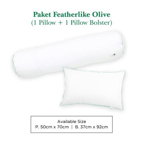Paket 1 Bantal 1 Guling Bulu Angsa Featherlike (Olive)
