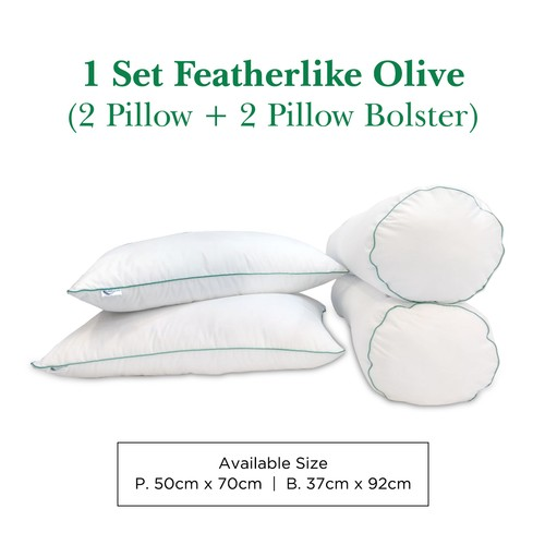 Paket 2 Bantal 2 Guling Bulu Angsa Featherlike (Olive)