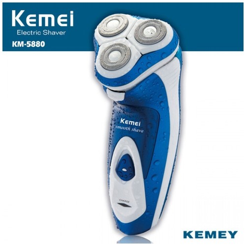KEMEI KM-5880 3D Full Washable Rechargeable Rotary Triple Floating Heads Electric Shaver Razor Trimmer Wet Dry Use for Men [TKU]