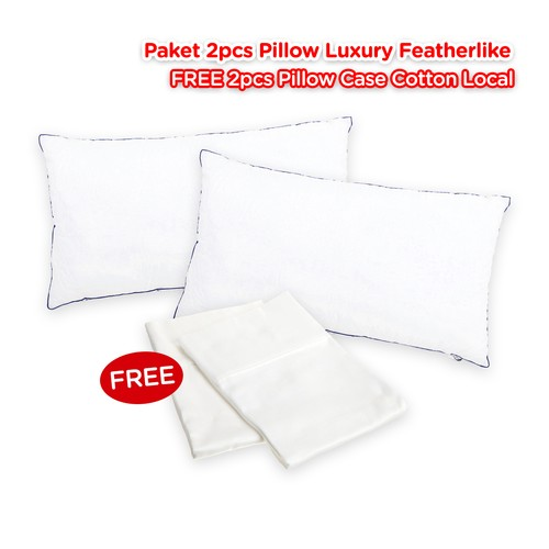 Paket 2 Bantal Bulu Angsa Luxury Featherike Free 2 Sarung Bantal Luxury Cotton Local