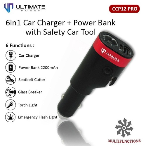 Ultimate 6in1 Car Charger Power Bank Safety Car Tool CCP12 PRO
