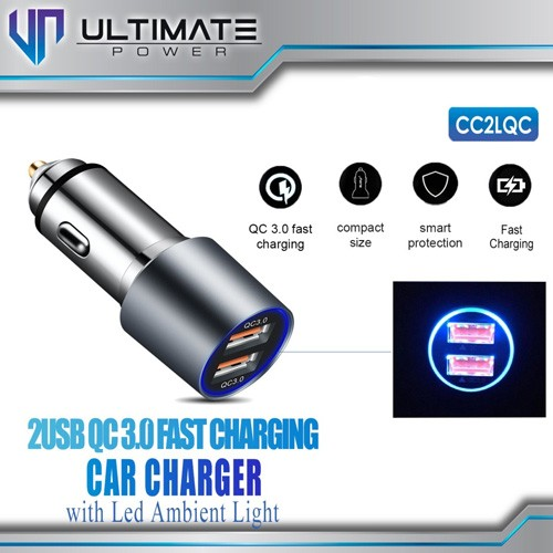 Ultimate Fast Car Charger LED Quick Charge 3.0 with 2 USB Port CC2LQC