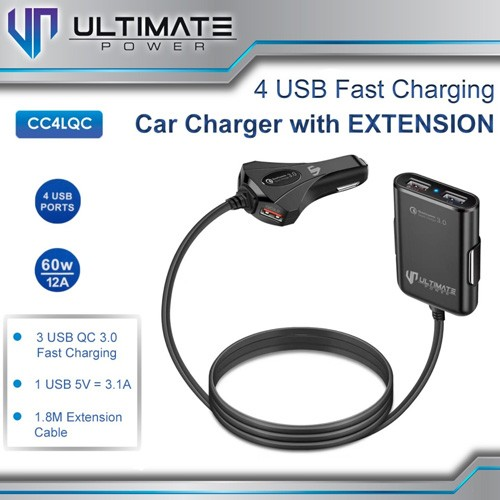 Ultimate Fast Car Charger Extension with 4USB Port CC4LQC
