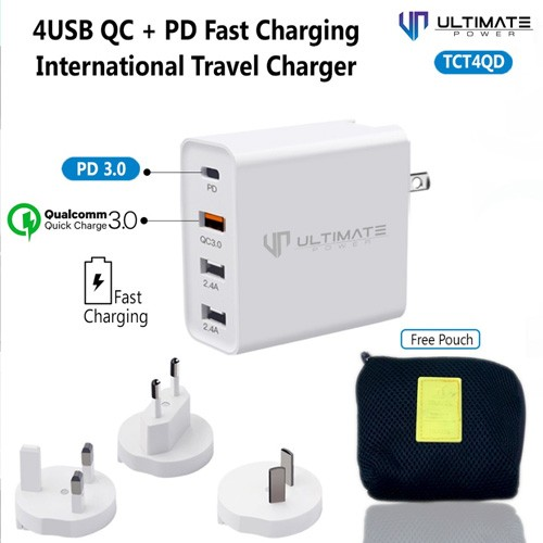 Ultimate Quick Charge & Power Delivery International Travel Charger with 4 USB Port TCT4QD