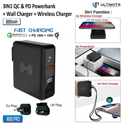 Ultimate 3in1 Quick Charge & Power Delivery Wall Charger + Wireless Charger + Power Bank 8000mAh WX8 Pro