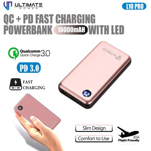 Ultimate QC+PD Fast Charging Power Bank 10000mAh with LED Digital L10 PRO-R - Rose