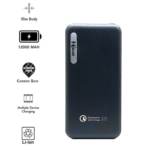 Ikawai Slim Power Bank P57 12.000mAh Carbon Skin QC3.0 Dual USB