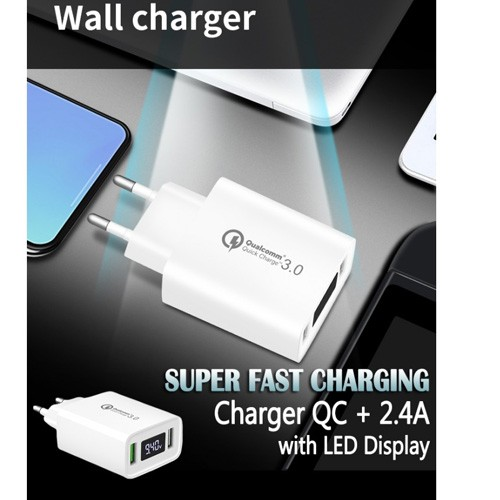Ultimate Super Fast Charger QC + 2.4A with LED Display TCL2QC - White