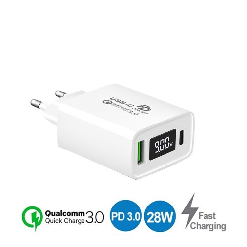 Ultimate Super Fast Charging QC + PD With LED Display TCL2QPD-70 - White