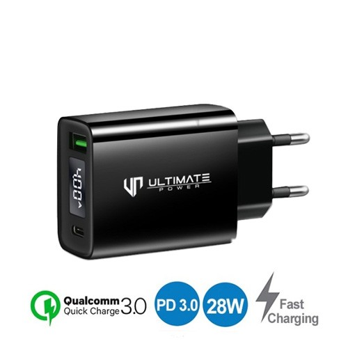 Ultimate Super Fast Charging Charger QC + PD With LED Display TCL2QPD-2 - Black