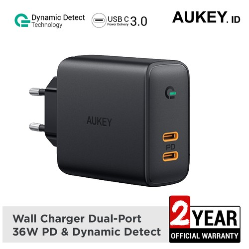 Aukey Charger Dual-Port 36W PD with Dynamic Detect - 500393
