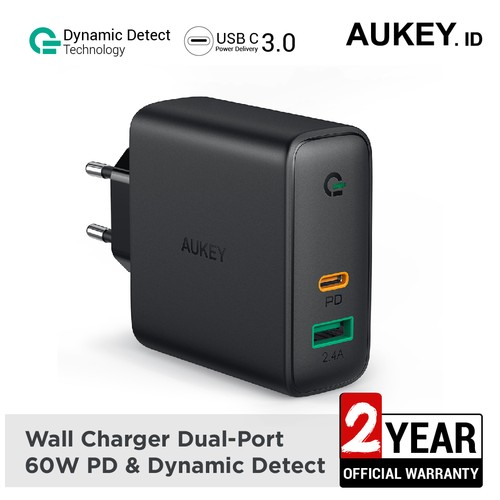 Aukey Charger Dual-Port 60W PD with Dynamic Detect - 500394