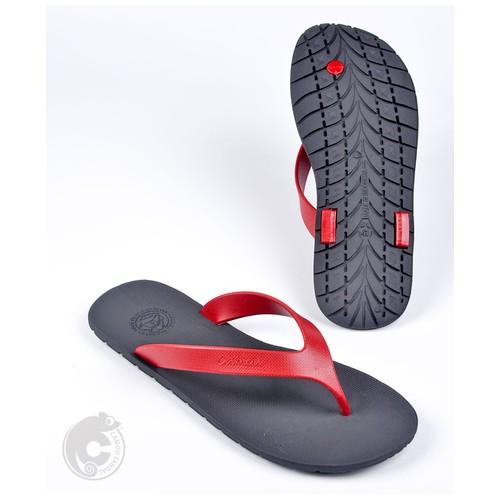 Camou Sandal Jepit Flipflop Pria Art WR - Hitam Merah 44