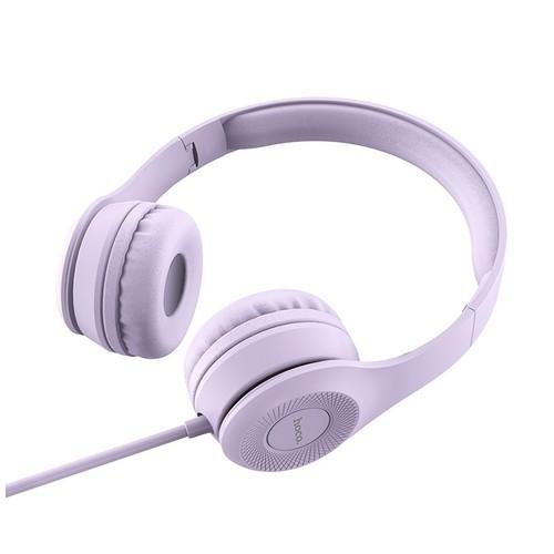 HOCO W21 Headphones Graceful Charm Mid Bass Wired Headset With Mic - Purple