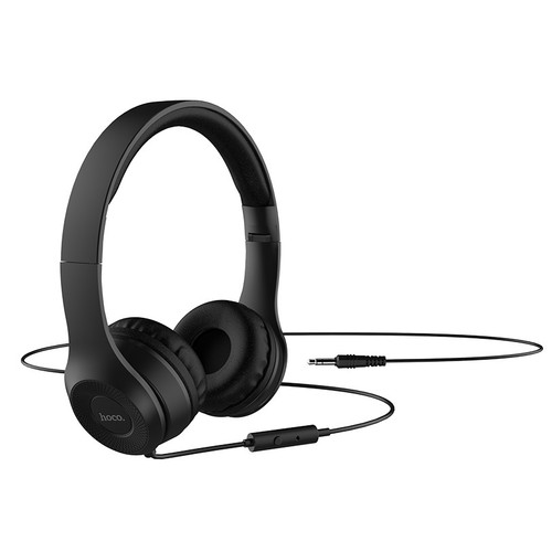 HOCO W21 Headphones Graceful Charm Mid Bass Wired Headset With Mic - Black