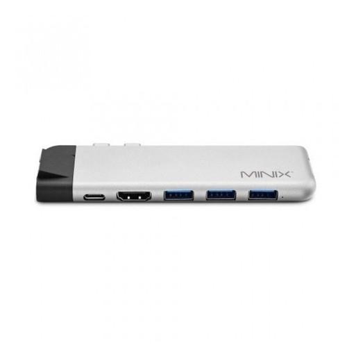 MINIX NEO C-DE PRO - USB-C Multiport Adapter with LAN Port for Macbook Silver [TKU]